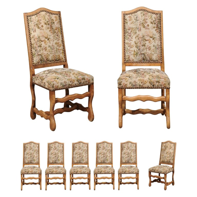 Set of Eight French Louis XIII Style Os de Mouton Dining Chairs with Tapestry For Sale