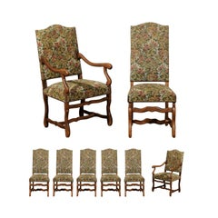 Set of Eight French Louis XIII Style Os de Mouton Dining Chairs with Upholstery