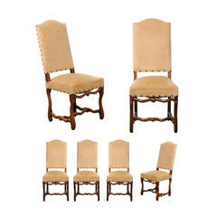 Set of Eight French Louis XIII Style Os de Mouton, Velvet Covered Dining Chairs