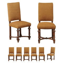 Set of Eight French Louis XIII Style Walnut Upholstered Dining Room Side Chairs