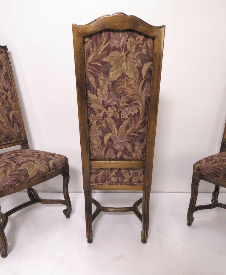 Set of Eight French Louis XIV Style Carved High Back Dining Chairs For Sale 5