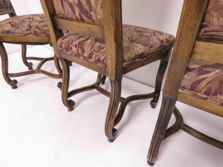 Set of Eight French Louis XIV Style Carved High Back Dining Chairs For Sale 6