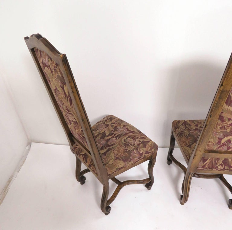 Set of Eight French Louis XIV Style Carved High Back Dining Chairs For Sale 7