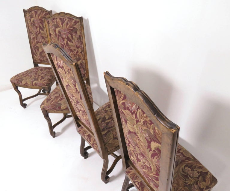 Set of Eight French Louis XIV Style Carved High Back Dining Chairs For Sale 8