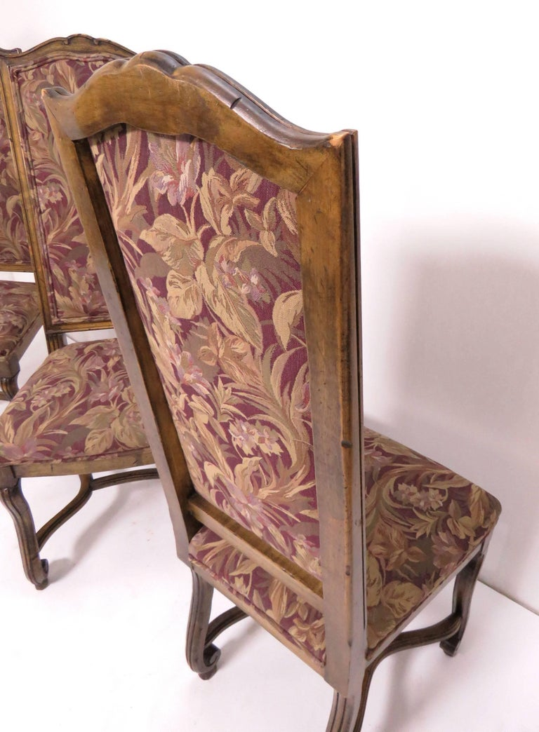 Set of Eight French Louis XIV Style Carved High Back Dining Chairs For Sale 9