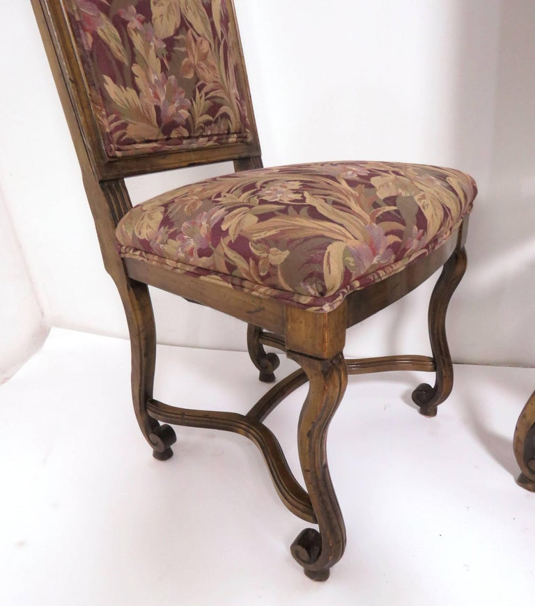 Set of Eight French Louis XIV Style Carved High Back Dining Chairs In Good Condition For Sale In Peabody, MA