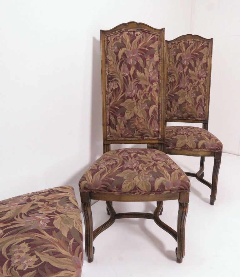 Upholstery Set of Eight French Louis XIV Style Carved High Back Dining Chairs For Sale