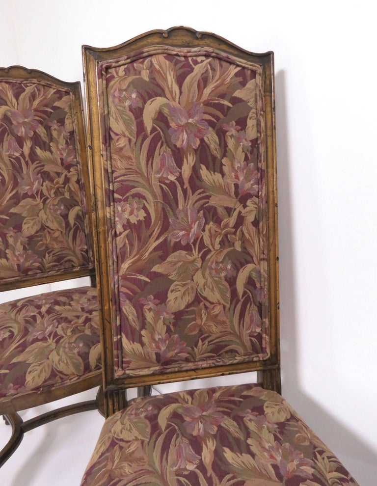 Set of Eight French Louis XIV Style Carved High Back Dining Chairs For Sale 2