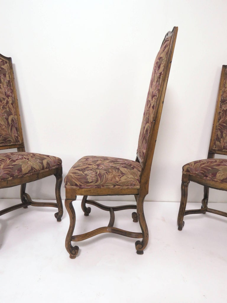 Set of Eight French Louis XIV Style Carved High Back Dining Chairs For Sale 3
