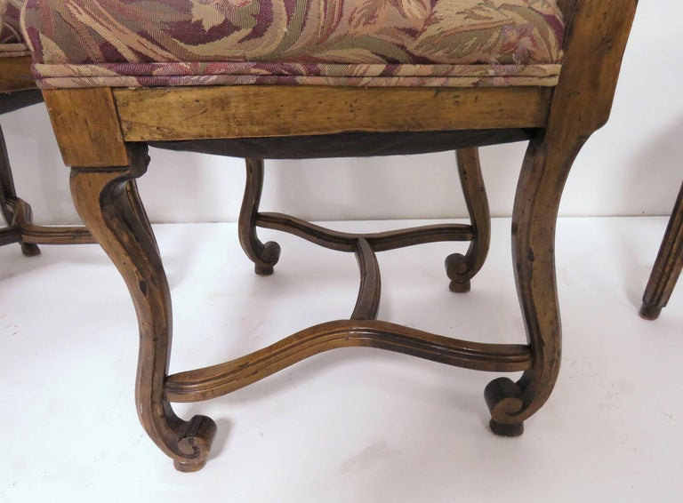 Set of Eight French Louis XIV Style Carved High Back Dining Chairs For Sale 4