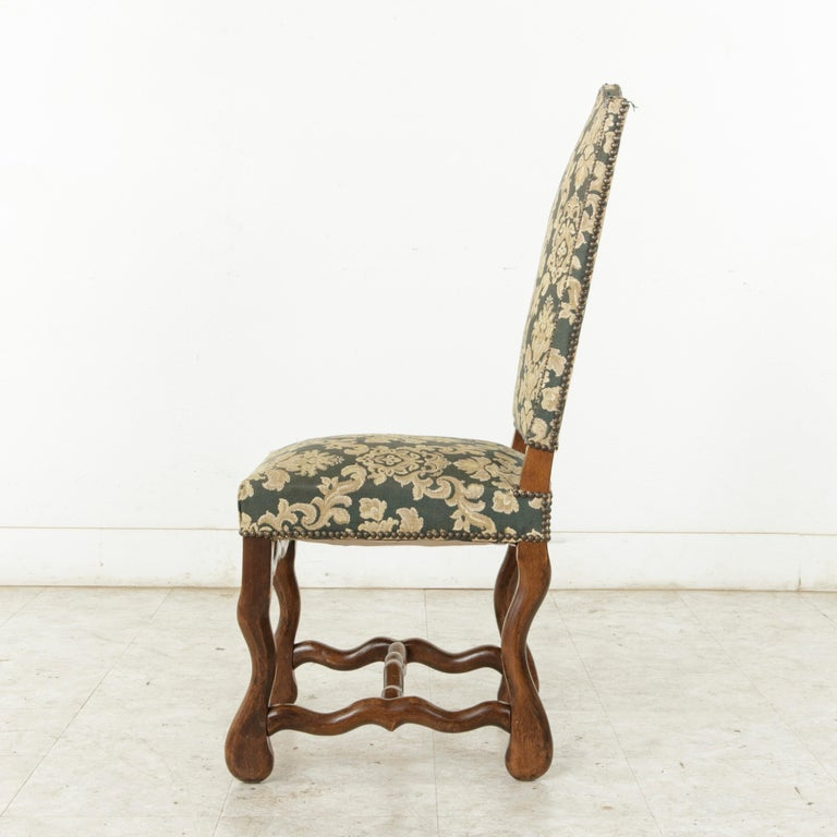 Tapestry Set of Eight French Louis XIV Style Mutton Leg Side Chairs, Dining Chairs For Sale