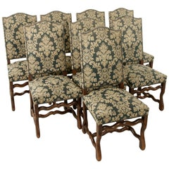 Set of Eight French Louis XIV Style Mutton Leg Side Chairs, Dining Chairs