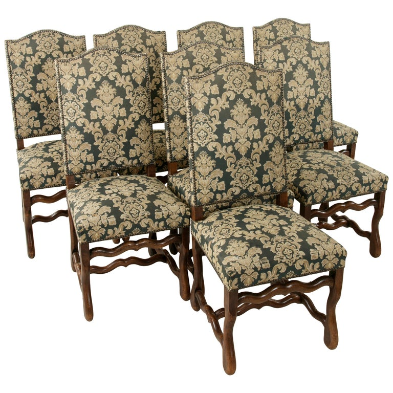 Set of Eight French Louis XIV Style Mutton Leg Side Chairs, Dining Chairs For Sale