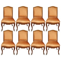 Set of Eight French Louis XV St. Turn of the Century Dining Side Chairs