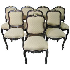 Set of Eight French Louis XV Style Dining / Side Chairs by Interior Crafts