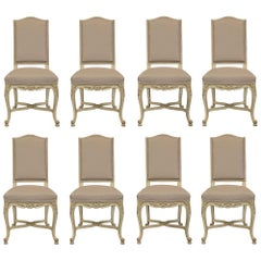 Set of Eight French Louis XV Style Patinated Dining Chairs