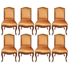 Set of Eight French Louis XV Style Turn of the Century Dining Side Chairs