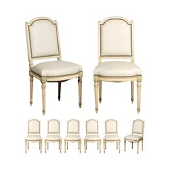 Set of Eight French Louis XVI Style Painted Dining Chairs with New Upholstery