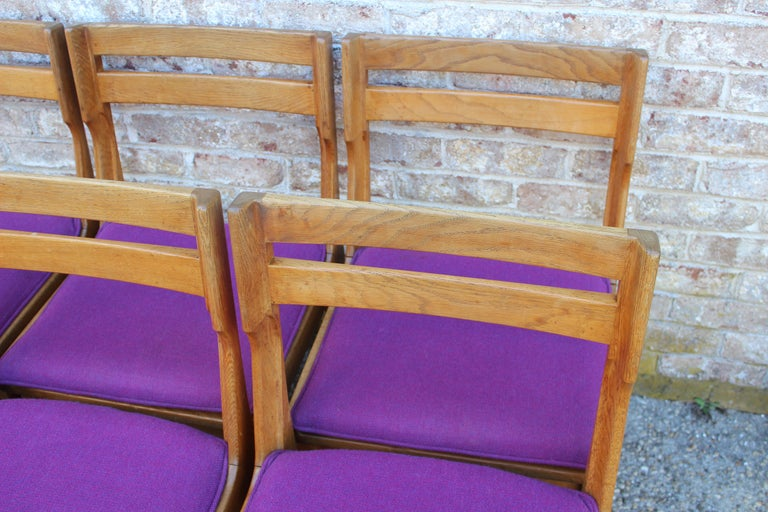 Set of Eight French Oak Dining Chairs by Guillerme et Chambron For Sale 1
