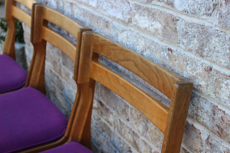 Set of Eight French Oak Dining Chairs by Guillerme et Chambron For Sale 2
