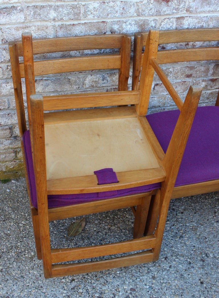 Set of Eight French Oak Dining Chairs by Guillerme et Chambron For Sale 3