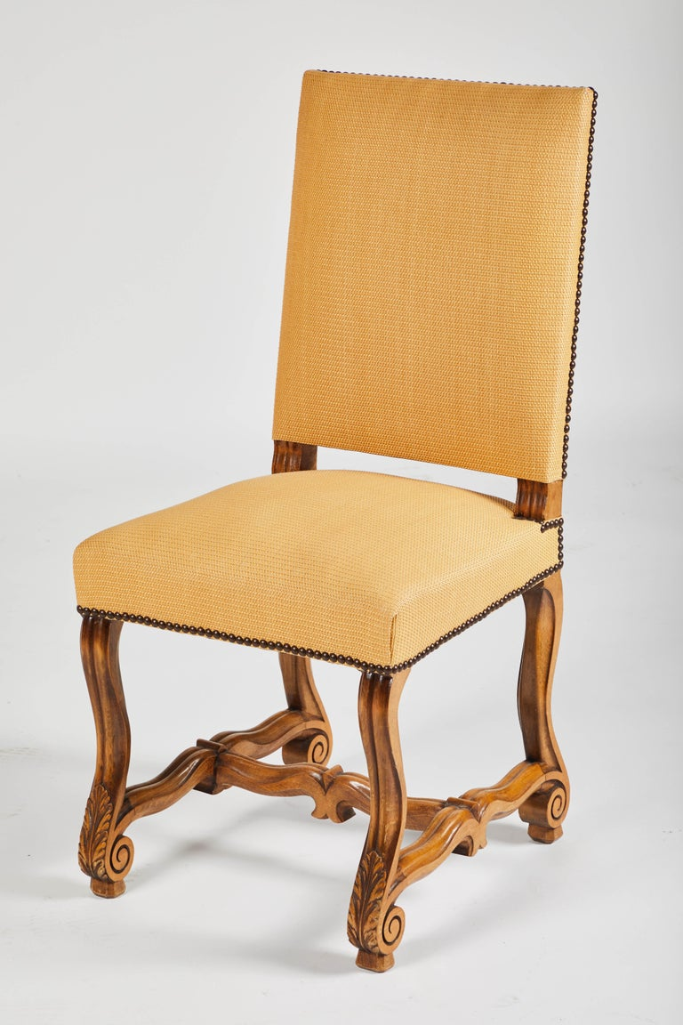 Set of Eight French Os De Mouton Louis XIV Style Dining Chairs For Sale 3