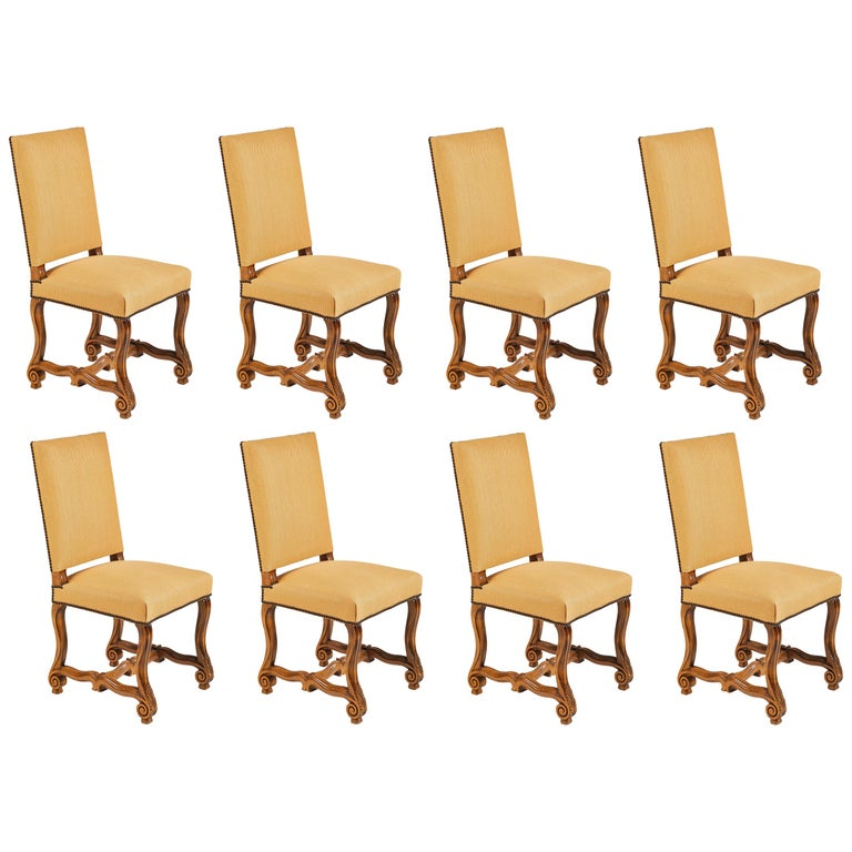 Set of Eight French Os De Mouton Louis XIV Style Dining Chairs For Sale