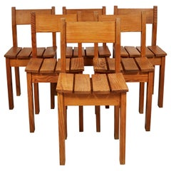 Set of Eight French Pine Slatted Dining Chairs