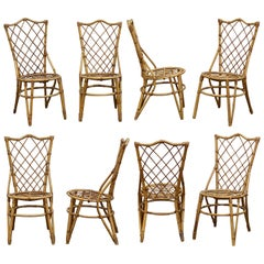 Set of Eight French Rattan Dining Chairs, Sold as a Set