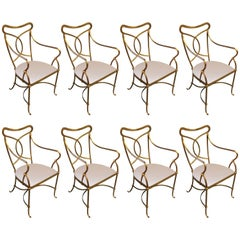 Set of Eight French Solid Wrought Iron Dining Chairs with Gilt Finish