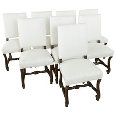 Set of Eight French Walnut Fluted Mutton Leg Side Chairs, Dining Chairs