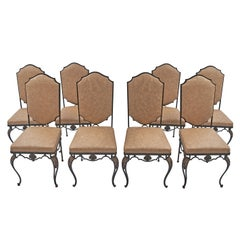 Set of Eight French Wrought Iron Dining Chairs, circa 1900