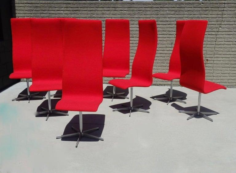 Set of Eight Freshly Restored Arne Jacobsen Fritz Hansen High Back Oxford Chairs For Sale 4