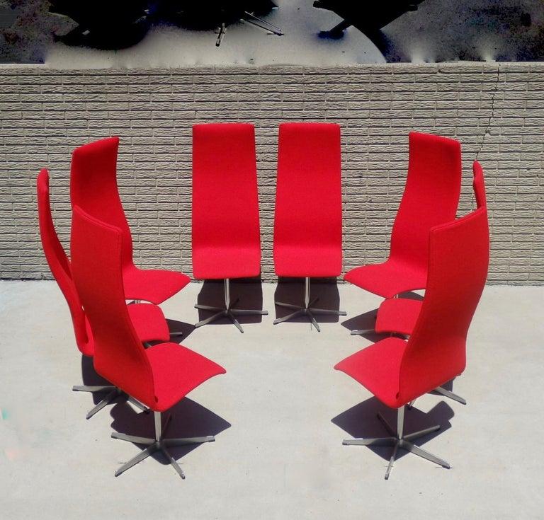 Set of Eight Freshly Restored Arne Jacobsen Fritz Hansen High Back Oxford Chairs For Sale 6