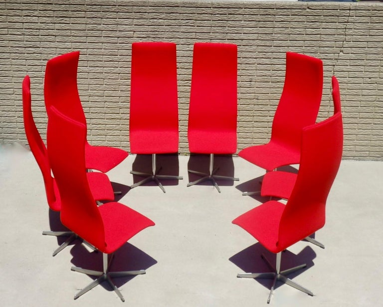 Set of Eight Freshly Restored Arne Jacobsen Fritz Hansen High Back Oxford Chairs For Sale 7