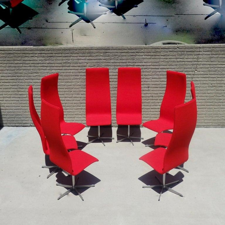 Danish Set of Eight Freshly Restored Arne Jacobsen Fritz Hansen High Back Oxford Chairs For Sale