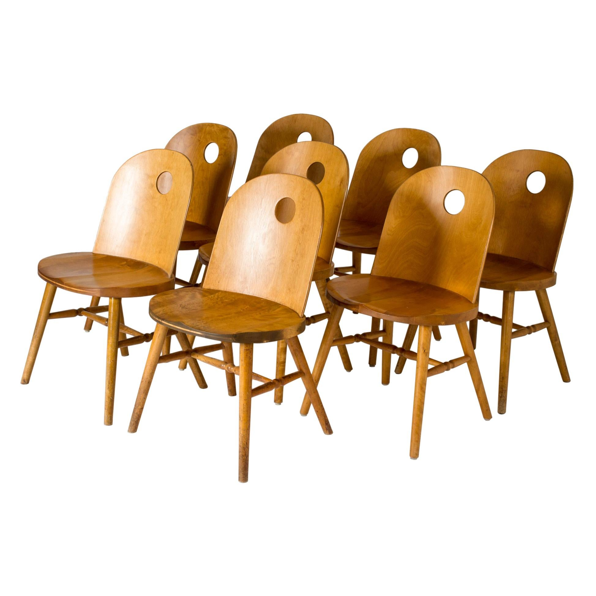 Set of Eight Functionalist Dining Chairs by Uno Åhrén