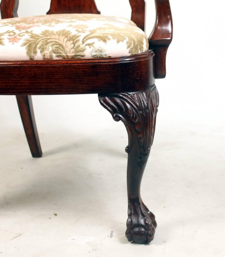 Set of Eight George I Style Carved Mahogany Dining Chairs For Sale 1