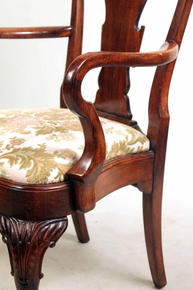 Set of Eight George I Style Carved Mahogany Dining Chairs For Sale 2