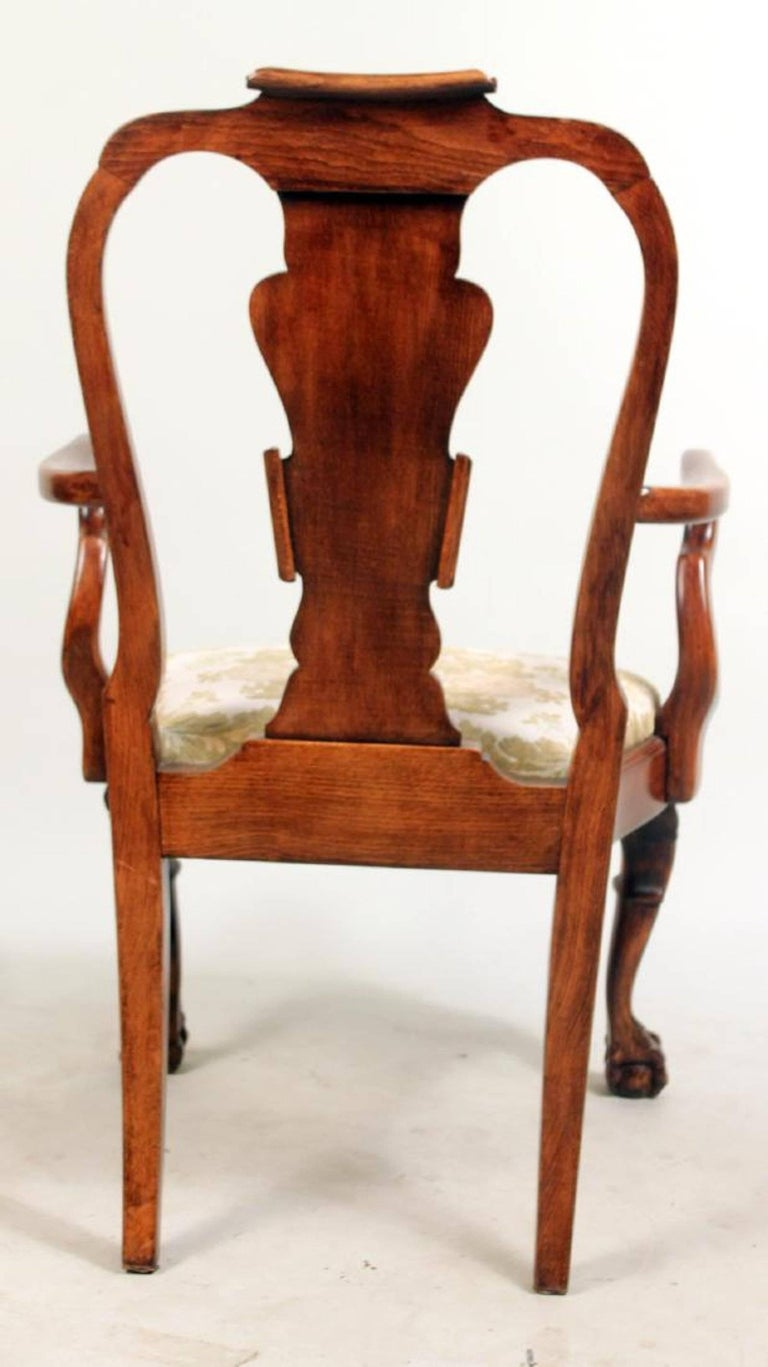 Set of Eight George I Style Carved Mahogany Dining Chairs For Sale 4
