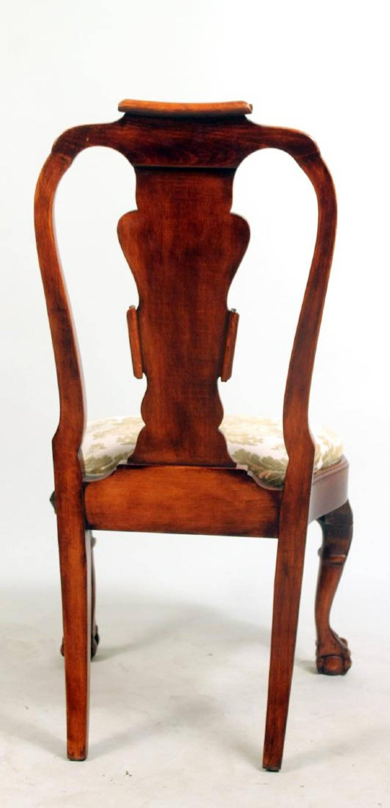 Set of Eight George I Style Carved Mahogany Dining Chairs For Sale 5