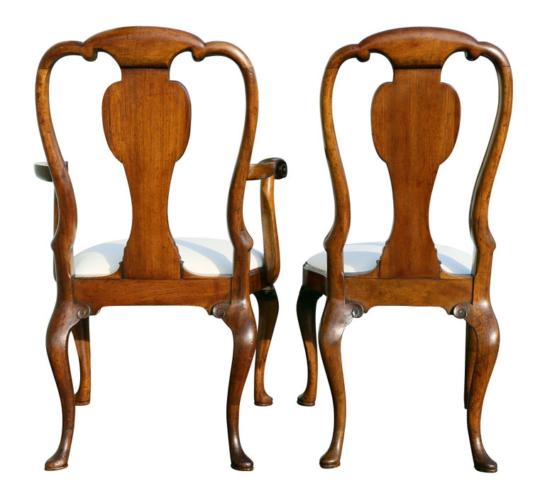 Set of Eight George I Style Walnut Dining Chairs For Sale 5