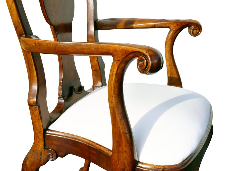 English Set of Eight George I Style Walnut Dining Chairs For Sale
