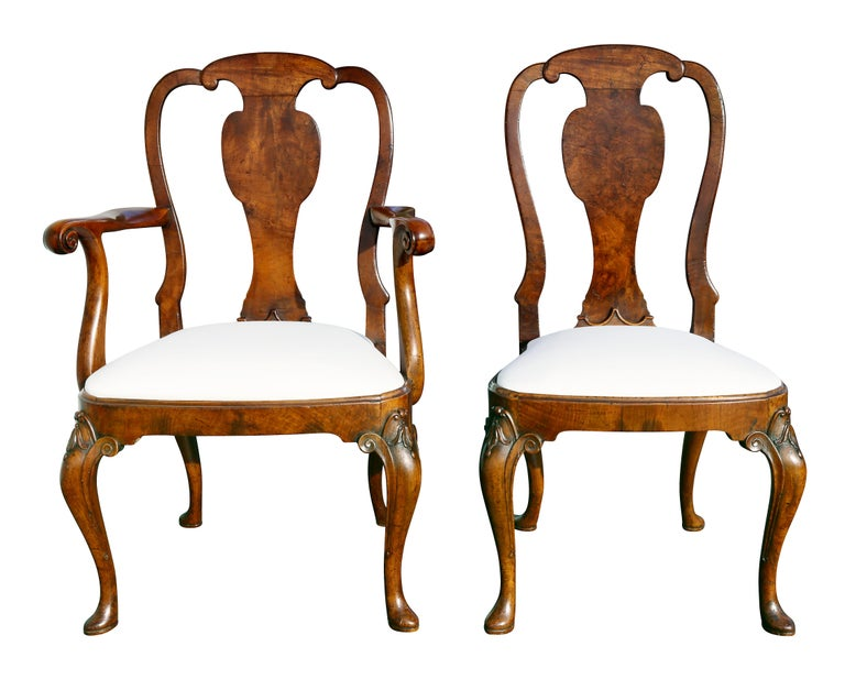 Early 18th Century Set of Eight George I Style Walnut Dining Chairs For Sale