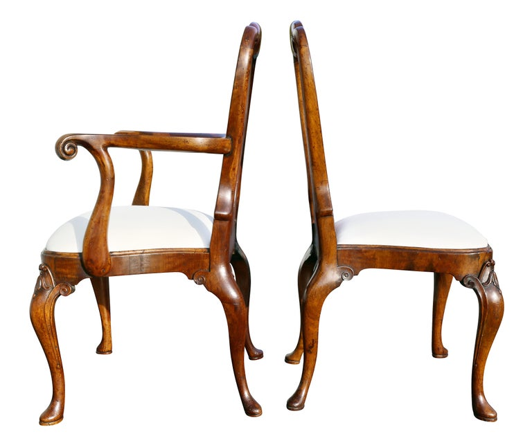 Set of Eight George I Style Walnut Dining Chairs For Sale 4