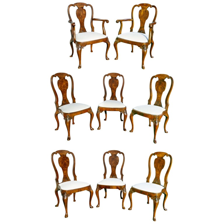 Set of Eight George I Style Walnut Dining Chairs For Sale