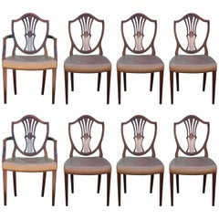 Set of Eight George III Hepplewhite Mahogany Shield Back Dining Chairs Leather