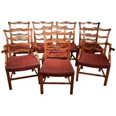 Set of Eight George III Period Mahogany Ladderback Dining Chairs