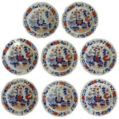 Set of Eight Georgian Mason's Ironstone Desert Plates Basket Japan Pattern