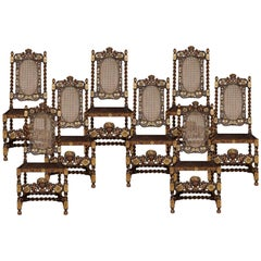 Set of Eight Gilded Walnut High Back Chairs